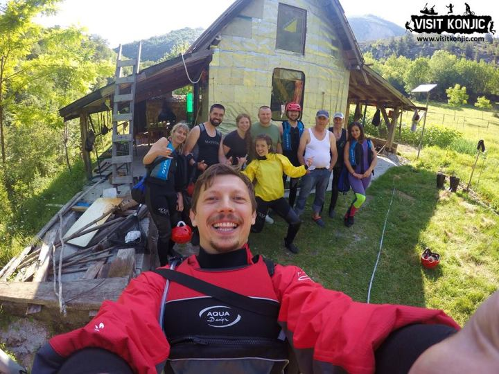 We made it - Celebrating after Canyoning on Rakitnica River - Bosnia and Herzegovina BiH - photo by VisitKonjic.com