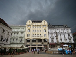 Bratislava's Main Square Before the Storm - Bratislava Slovakia - by Anika Mikkelson - Miss Maps - www.MissMaps.com