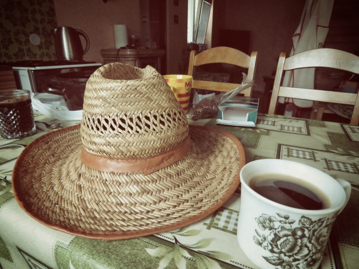 Hat and Coffee - Cabin in Central Slovakia - by Anika Mikkelson - Miss Maps - www.MissMaps.com
