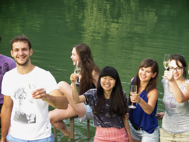 Just a few more minutes of wading in icy waters during our taste test of Semič Sparkling Wine at Big Berry Slovenia - by Anika Mikkelson - Miss Maps - www.MissMaps.com