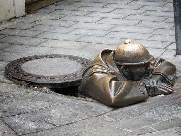 Man Working Statue - Bratislava Slovakia - by Anika Mikkelson - Miss Maps - www.MissMaps.com