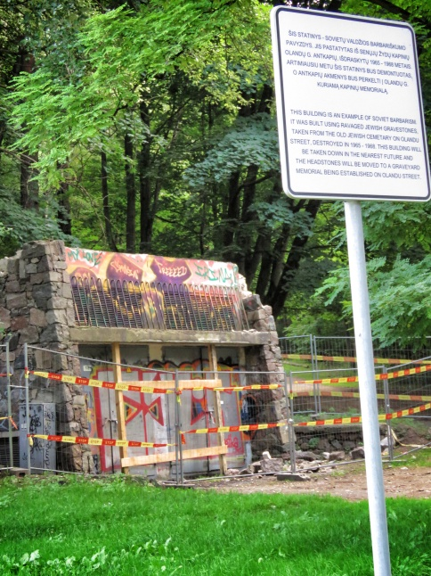 A structure made from Jewish Gravestones - Villnius Lithuania - by Anika Mikkelson - Miss Maps - www.MissMaps.com