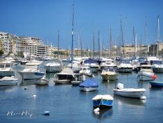 Blue Boats of Msida Yacht Marina - Malta - by Anika Mikkelson - Miss Maps - www.MissMaps.com