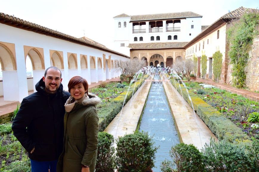Cassandra and her boyfriend at La Alhambra, Granada, Spain - MissMaps.com Featured Female Traveler