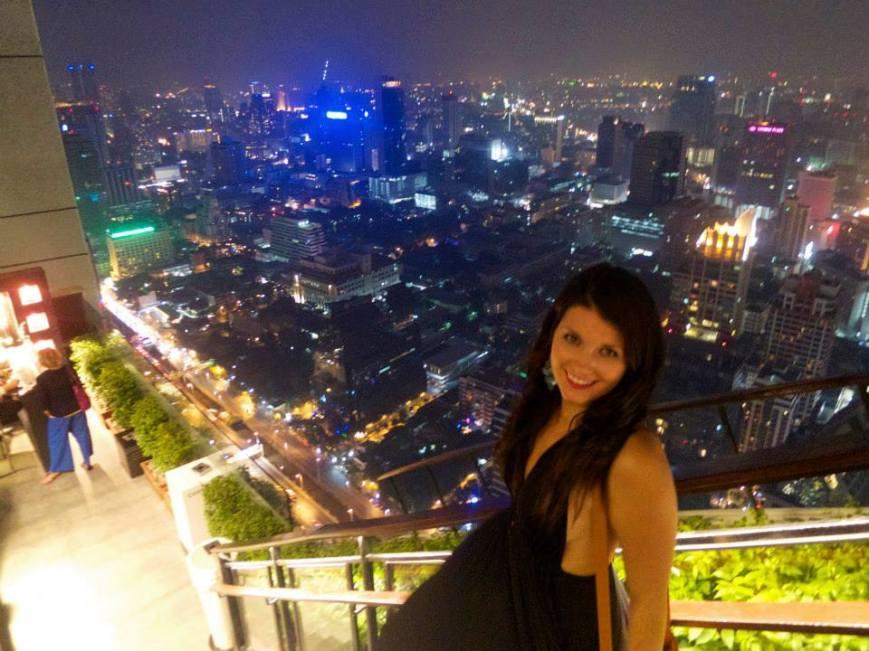 Courtney Enjoying Rooftop Cocktails at Banyan Tree Hotel, Bangkok - www.MissMaps.com Featured Female Traveler