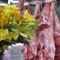 Daffodils and pork - Riga Latvia - by Anika Mikkelson - Miss Maps - www.MissMaps.com