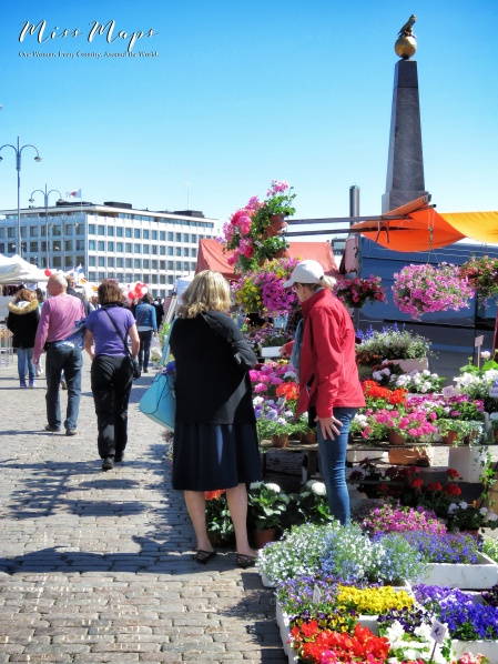 Flowers at Market Square - Helsinki Finland - by Anika Mikkelson - Miss Maps - www.MissMaps.com