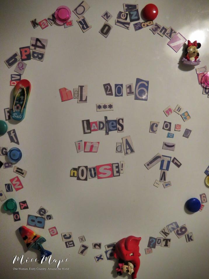 Hel 2016 - Ladies in Da House - Our Refrigerator Magnet Display - Helsinki Finland - by Anika Mikkelson - Miss Maps - www.MissMaps.com