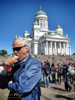 Helsinki Scavenger Hunt : Eating Ice Cream Outside Helsinki Cathedral - Helsinki Finland - by Anika Mikkelson - Miss Maps - www.MissMaps.com