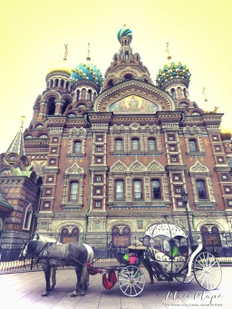 Horse and Carriage at the Church of the Spilled Blood - St Petersburg Russia - by Anika Mikkelson - Miss Maps - www.MissMaps.com
