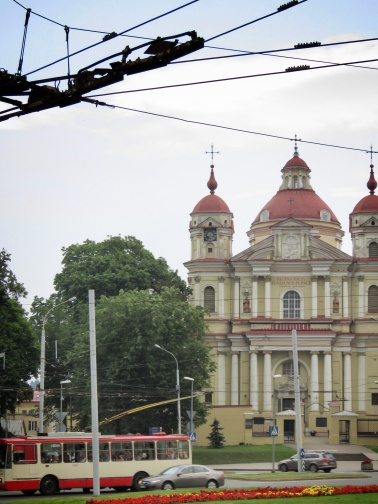 Matching Church and Tram - Vilnius Lithuania - by Anika Mikkelson - Miss Maps - www.MissMaps.com