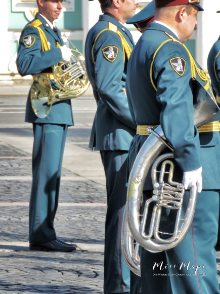 Military Marching Band - French Horns - St Petersburg Russia - by Anika Mikkelson - Miss Maps - www.MissMaps.com