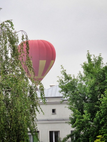 Woke up at 5am to this hot air balloon outside my window - Bialystok Poland - by Anika Mikkelson - Miss Maps - www.MissMaps.com