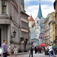 Old Town Umbrella - Riga Latvia - by Anika Mikkelson - Miss Maps - www.MissMaps.com