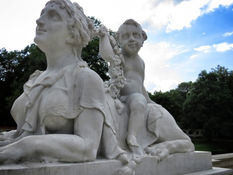 Perhaps the creepiest statue in the city - in the gardens of Lubomirski Palace - Bialystok Poland - by Anika Mikkelson - Miss Maps - www.MissMaps.com