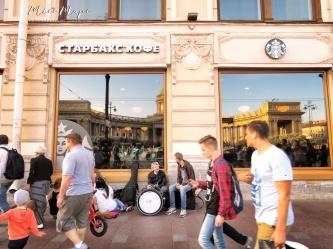 Starbucks Coffee in Cyrillic - St Petersburg Russia - by Anika Mikkelson - Miss Maps - www.MissMaps.com
