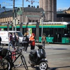 Tram and Transport Outside the Main Train Station - Helsinki Finland - by Anika Mikkelson - Miss Maps - www.MissMaps.com