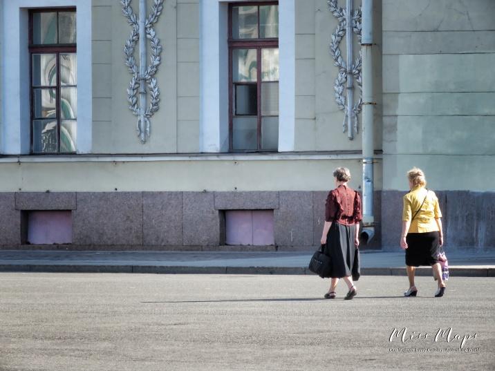 Two Women Walking - St Petersburg Russia - by Anika Mikkelson - Miss Maps - www.MissMaps.com