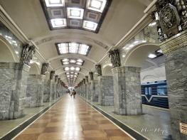 Walkway of St Petersburg Russia's Underground Metro - by Anika Mikkelson - Miss Maps - www.MissMaps.com