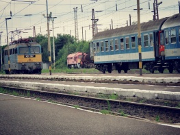 Watching the trains come in Zahony Hungary - by Anika Mikkelson - Miss Maps - www.MissMaps.com