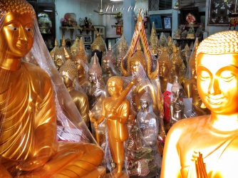Golden Buddhas For Sale - Bangkok Thailand - by Anika Mikkelson - Miss Maps - www.MissMaps.com