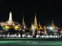 Golden Night at Grand Palace - Bangkok Thailand - by Anika Mikkelson - Miss Maps - www.MissMaps.com