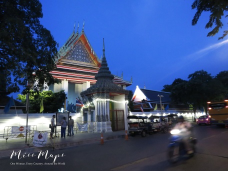 Outside Wat Pho at Sundown - Bangkok Thailand - by Anika Mikkelson - Miss Maps - www.MissMaps.com