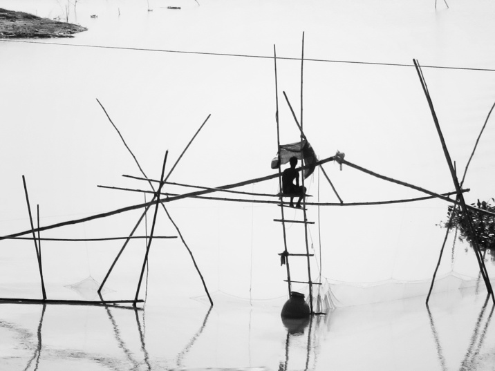 Fisherman in Black and White - Rural Bangladesh - by Anika Mikkelson - Miss Maps - www.MissMaps.com