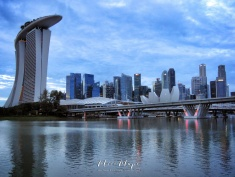 Singapore Skyline at Dawn - by Anika Mikkelson - Miss Maps - www.MissMaps.com