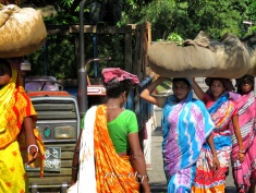 Women Carrying Tea Leaves - Sylhet Bangladesh - by Anika Mikkelson - Miss Maps - www.MissMaps.com