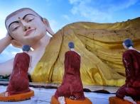 3 Buddhas Pray Before Mya Tha Lyaung - Reclining Buddha - Pagu Bago Myanmar - by Anika Mikkelson - Miss Maps - www.MissMaps.com