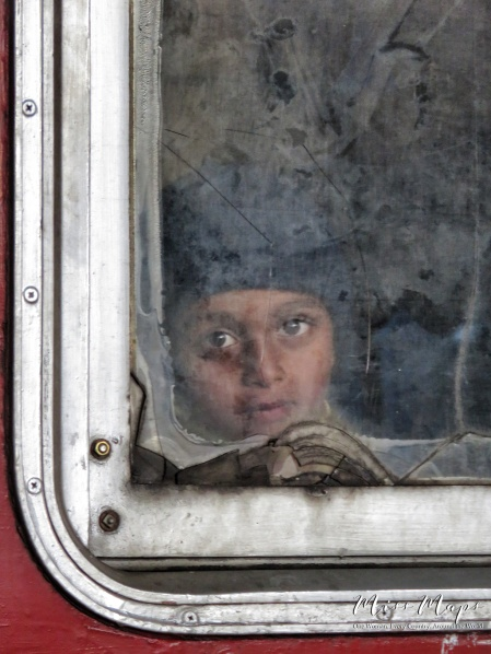 A child's eyes through the train window - Ella to Kandy Sri Lanka - by Anika Mikkelson - Miss Maps - www.MissMaps.com