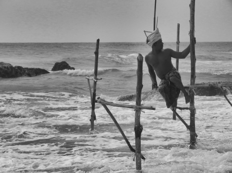 A Stilt Fisherman at Work - Kegalle Sri Lanka - by Anika Mikkelson - Miss Maps - www.MissMaps.com