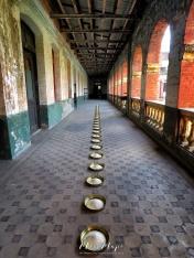 Alms Bowls by Artist Wolfgang Laib on Display at the Secretariat Building - Yangon Myanmar - by Anika Mikkelson - Miss Maps - www.MissMaps.com