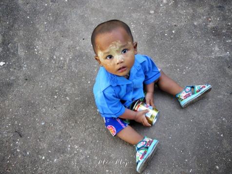 Baby Boy in Blue and Thanaka - Pagu Bago Myanmar - by Anika Mikkelson - Miss Maps - www.MissMaps.com