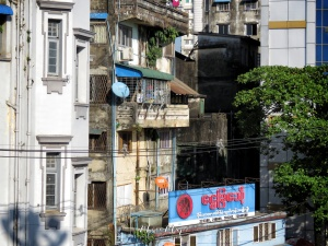 Buildings and Shadows of Yangon Myanmar - by Anika Mikkelson - Miss Maps - www.MissMaps.com