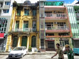 Buildings of Downtown Yangon Myanmar - by Anika Mikkelson - Miss Maps- www.MissMaps.com