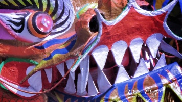 Close-Up of the Dragon - Chinese New Year - Chinatown - Yangon Myanmar - by Anika Mikkelson - Miss Maps - www.MissMaps.com