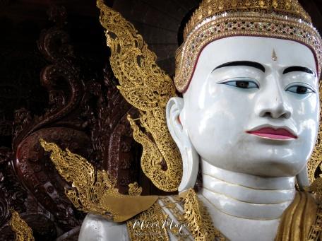Close Up of Seated Buddha at The Ngat Htat Gyi Pagoda - Yangon Myanmar - by Anika Mikkelson - Miss Maps - www.MissMaps.com