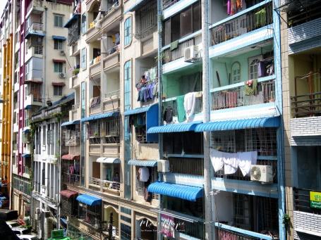Downtown Balconies - Yangon Myanmar - by Anika Mikkelson - Miss Maps - www.MissMaps.com