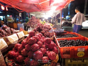 Dragon Fruit, Grapes and Durian for Sale near 19th Street - Chinatown - Yangon Myanmar - by Anika Mikkelson - Miss Maps - www.MissMaps.com