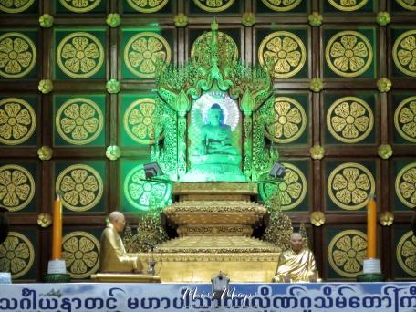 Electric Buddha Inside Maha Pasana Guya - Cave Pagoda - World Peace Pagoda - Yangon Myanmar - by Anika Mikkelson - Miss Maps - www.MissMaps.com
