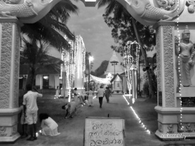 Entrance to the Buddhist Temple on New Years Day in Black and White - Galle Sri Lanka - by Anika Mikkelson - Miss Maps - www.MissMaps.com