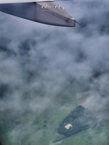 First Pagoda Spotting from the Plane - Over Myanmar - by Anika Mikkelson - Miss Maps - www.MissMaps.com