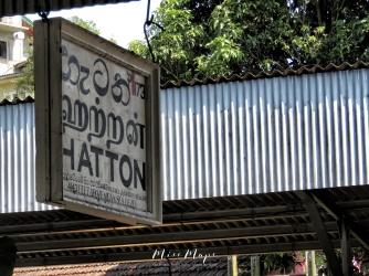 Hatton Station Sign - Views from the Train - Train Ride Ella to Kandy Sri Lanka - by Anika Mikkelson - Miss Maps - www.MissMaps.com