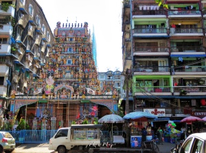 Hindu Temple and Colorful Apartments - Yangon Myanmar - by Anika Mikkelson - Miss Maps - www.MissMaps.com