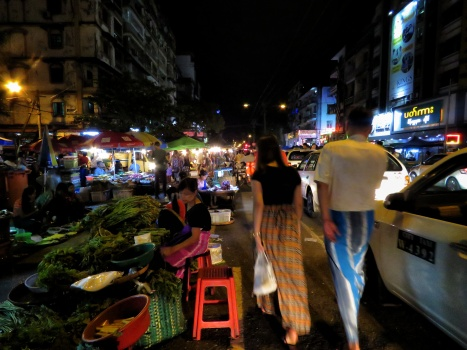 Mahabandoula at Night - Chinatown - Yangon Myanmar - by Anika Mikkelson - Miss Maps - www.MissMaps.com