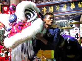 Pink Lion Dancers Presenting before Competition - Chinese New Year - Chinatown - Yangon Myanmar - by Anika Mikkelson - Miss Maps - www.MissMaps.com
