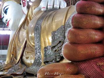 Reclining Buddha from Head to Toe at The Chauk Htat Gyi Pagoda - Yangon Myanmar - by Anika Mikkelson - Miss Maps - www.MissMaps.com