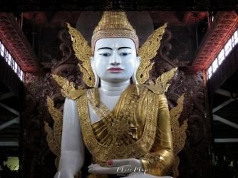 Seated Buddha at The Ngat Htat Gyi Pagoda - Yangon Myanmar - by Anika Mikkelson - Miss Maps - www.MissMaps.com